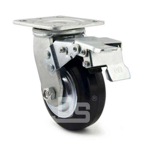 Heavy-Duty-Advanced-Rubber-Cast-Iron-Swivel-Caster-Wheels-with-Dual-Lock-Brake-2