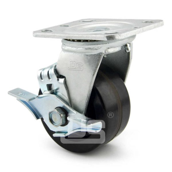 Heavy-Duty-Phenolic-150-Swivel-Caster-Wheels-with-Side-Lock-Brake