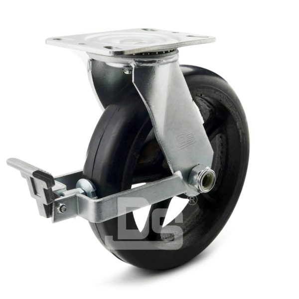 Heavy-Duty-Polyurethane-Cast-Iron-Swivel-Brake-Caster-wheels-with-Side-Lock-1