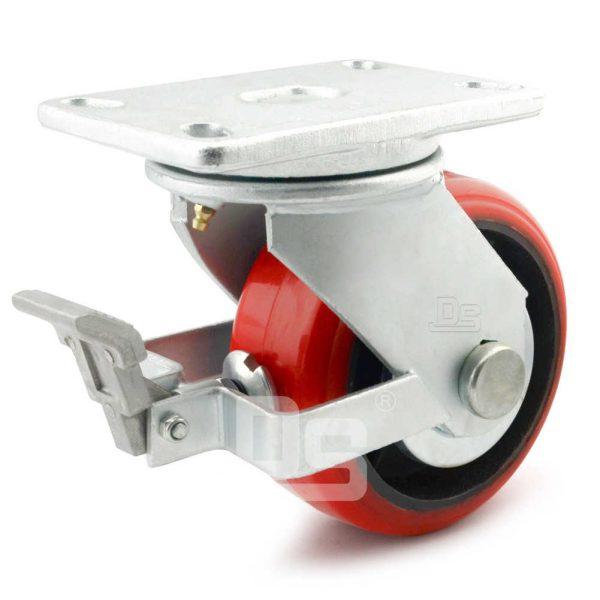 Heavy-Duty-Polyurethane-Cast-Iron-Swivel-Solid-Caster-Wheels-with-Brake-1