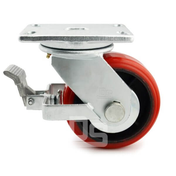Heavy-Duty-Polyurethane-Cast-Iron-Swivel-Solid-Caster-Wheels-with-Brake-2