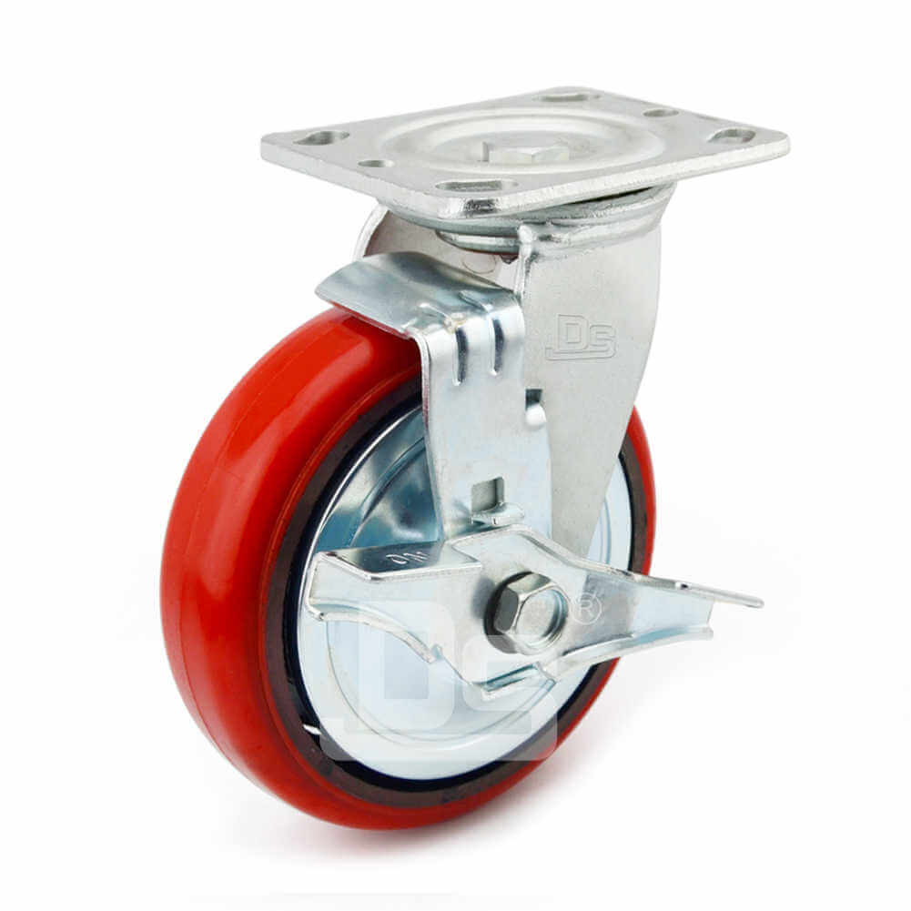 Heavy-Duty-Polyurethane-Swivel-Iron-Core-Caster-wheels-with-Side-Lock-Brake-1