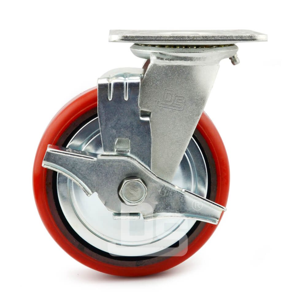 Heavy-Duty-Polyurethane-Swivel-Iron-Core-Caster-wheels-with-Side-Lock-Brake-2