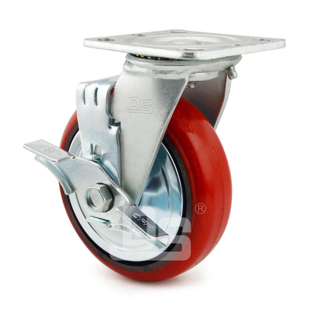 Heavy-Duty-Polyurethane-Swivel-Iron-Core-Caster-wheels-with-Side-Lock-Brake-3