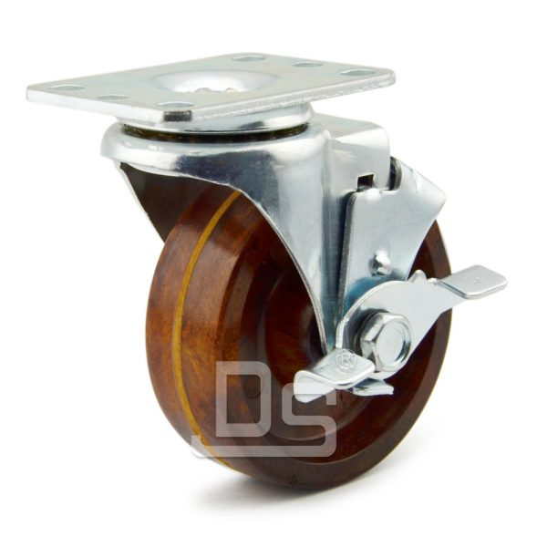 Light-Duty-Swivel-Phenolic-260-Caster-Wheels-with-Side-Lock-Brake