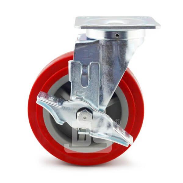 Medium-Duty-Polyurethane-Tread-Plastic-Core-Swivel-Caster-Wheels-with-Side-Lock-Brake-2