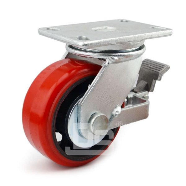Polyurethane-Tread-Cast-Iron-Swivel-Casters-With-Brake-1