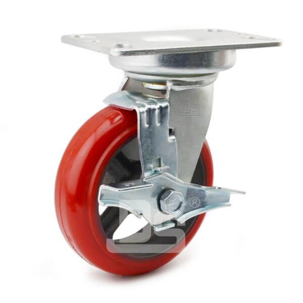 Rubber-Shock-Absorbing-Polyurethane-Cast-Iron-Swivel-Caster-Wheels-with-Side-Lock-Brake-1