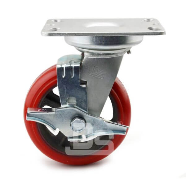 Rubber-Shock-Absorbing-Polyurethane-Cast-Iron-Swivel-Caster-Wheels-with-Side-Lock-Brake-2