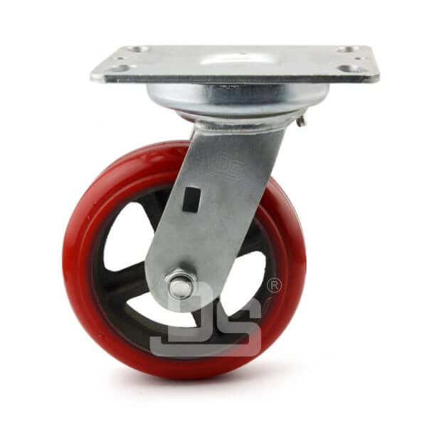 Rubber-Shock-Absorbing-Polyurethane-Cast-Iron-Swivel-Caster-wheels-1