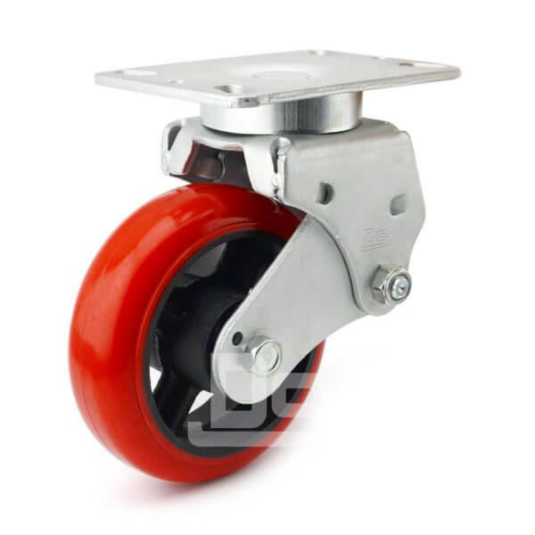 Spring-Shock-Absorbing-Polyurethane-Cast-Iron-Swivel-Caster-Wheels-1