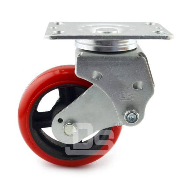 Spring-Shock-Absorbing-Polyurethane-Cast-Iron-Swivel-Caster-Wheels-2