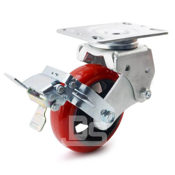 Spring-Shock-Absorbing-Polyurethane-Cast-Iron-Swivel-Caster-Wheels with-Side-Lock-Brake-1